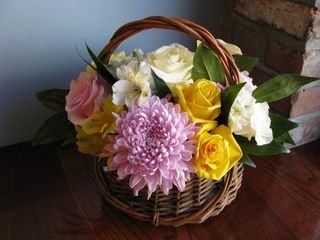 Lilac Mum Yellow Rose Basket