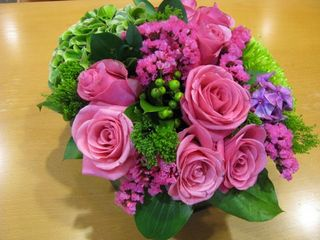 Pink & Green Round Arrangement