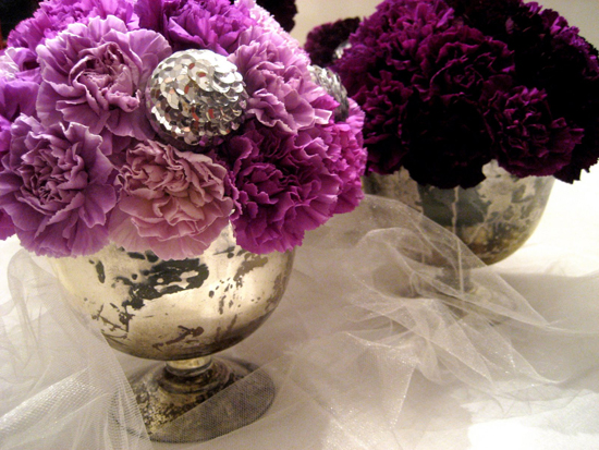 Purple Carnation Centerpieces with Jewels