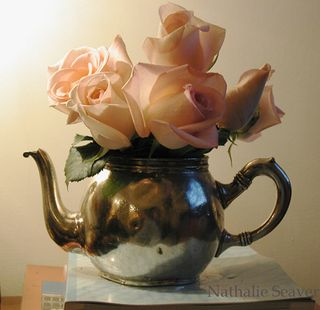 Pale Pink Roses in Teapot - Nathalie Seaver