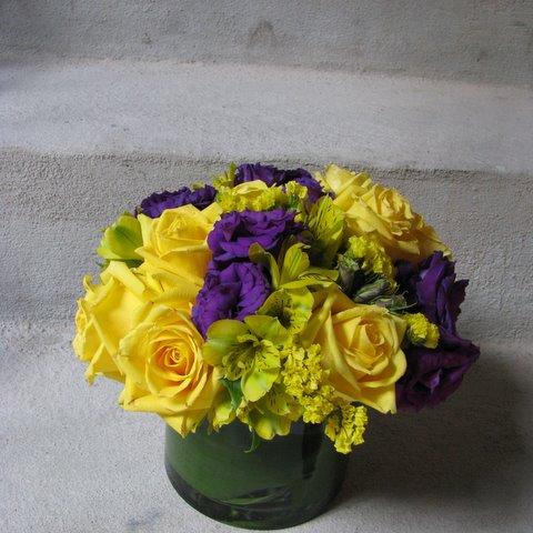 Purple and yellow flower arrangement yonkers florists fly me to purple and yellow flower arrangement mightylinksfo