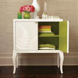 Furniture White Chest Flowers- MS