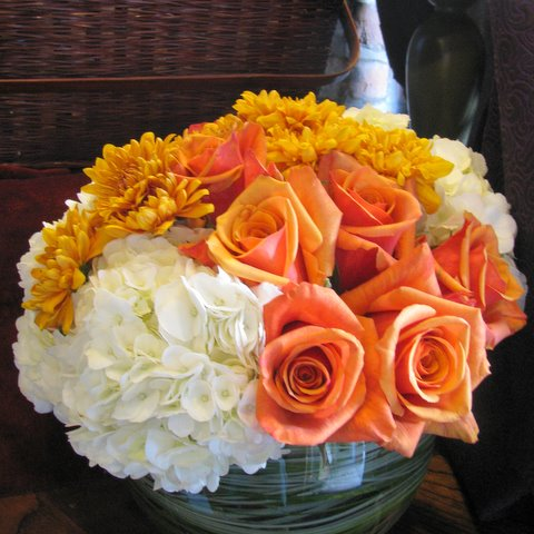 Orange and gold flowers in a bowl yonkers florists fly me to the orange and gold flowers in a bowl mightylinksfo