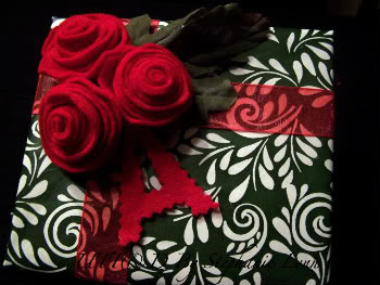 Gift Wrap Red Felt flower -Under the Table & Dreaming