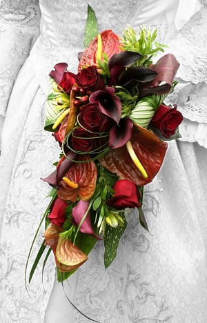 Top 5 Bridal Bouquets 9-11 Brown Anthurium Cascade- dotcomwomen