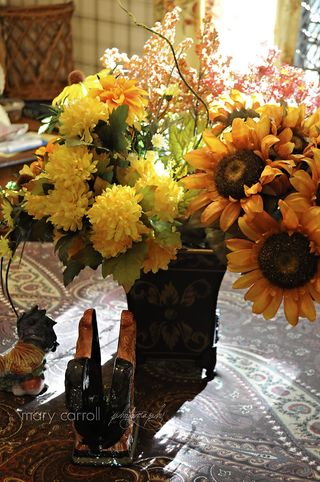 Fall nesting Sunflowers -Dear littered house