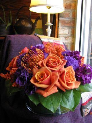 Orange and Purple flowers Chair