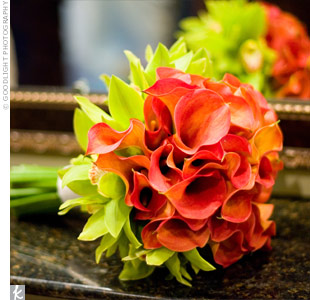 Orange Top 5 October Wedding Bouquet Calla Grn Orchid