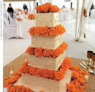 31 days of orange day 17 wedding cakes first come flowers orange wedding cake a square cakes junglespirit Choice Image
