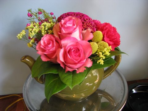 Teapot Olive Pink Flowers