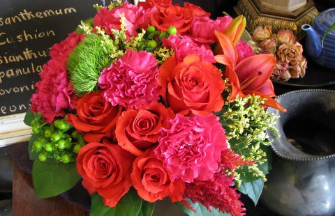 Floral Inspiration Orange Pink And Green Flowers First Come Flowers