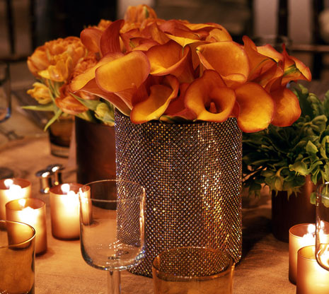 Orange Colin Calla Centerpiece