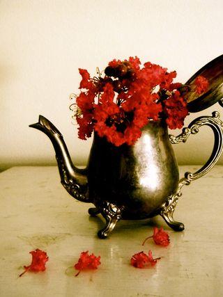 Flower Arrangement Silver Coffee Pot 0Gypsy Purple Home