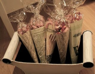 Gift Wrap Newspaper Cones -Absolutley white