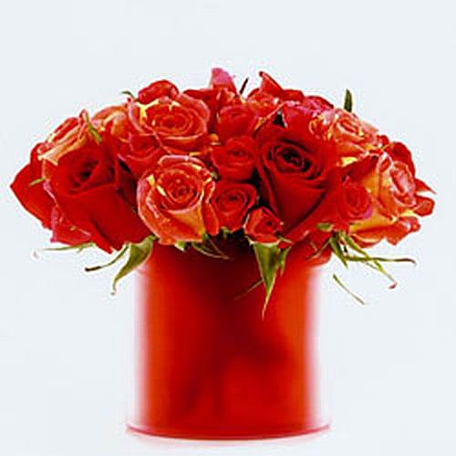 Orange Red Rose Arrangement - Dean Zamani