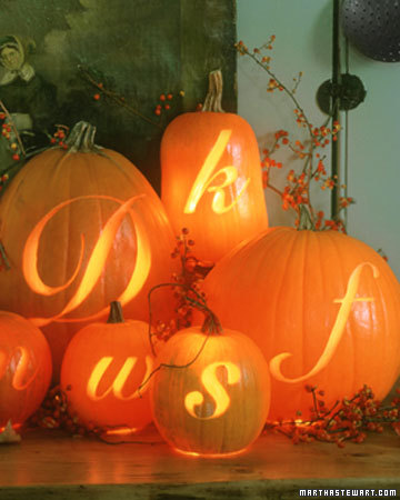 Orange Monogram Pumpkins - MS