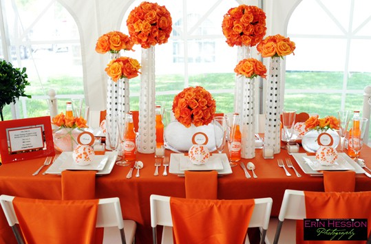 Orange and white Eent Decor - Posh Peta;s