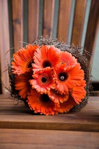Orange Top 5 Oct Wedding Bouquet Gerbera-Bouquet bridal