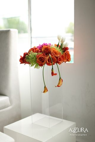 Orange Hanging Calla Centerpiece
