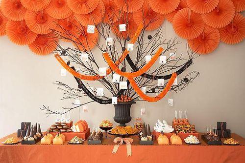 Orange dessert table