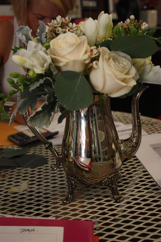 Flower Arrangement Silver Pot-Well-Fed Newlyweds