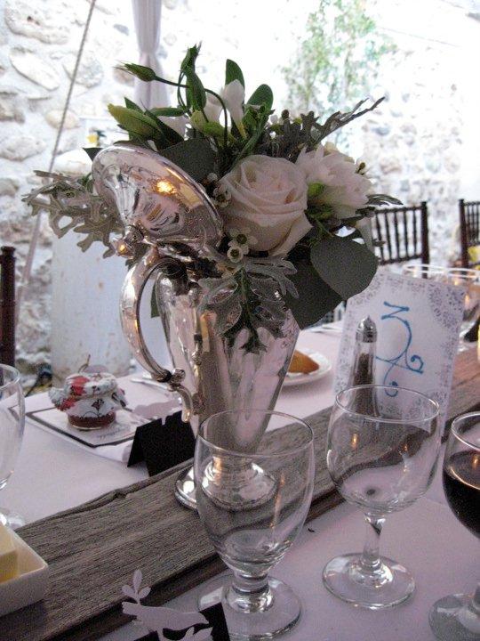 Flower Arrangement Silver Coffee Pot