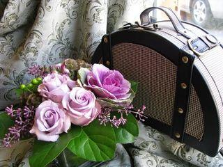 Lavender Flower Arrangement Blk & White Bag