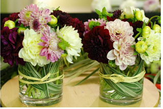 Modern small dahlia arrangements picture.