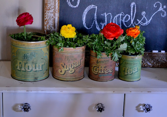 Flower Arrangements In Vintage Tins