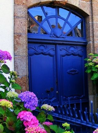 Blue door flowers