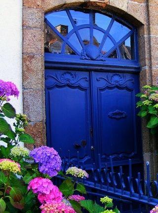 Blue door flowers
