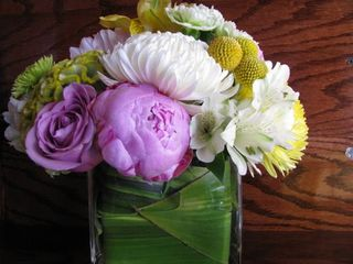 Pink peony Green Cockscomb arrangement