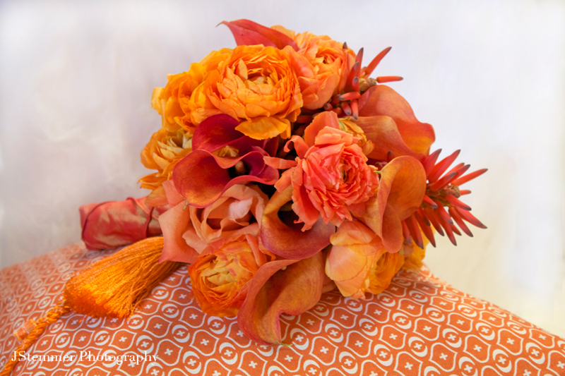 10 Orange Bridal Bouquets - First Come Flowers