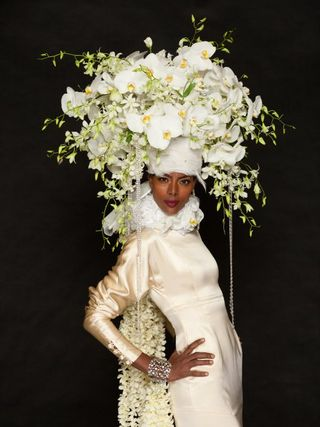 White Phalenopsis bridal hat