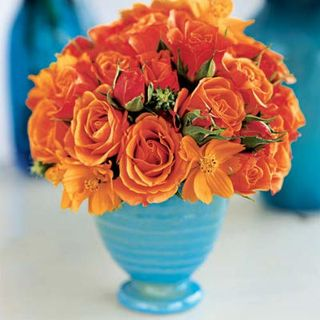 Orange Flowers Turquoise Vases Elegant And Easy First Come Flowers