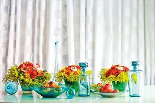 Turquoise Vase Oramge flowers C