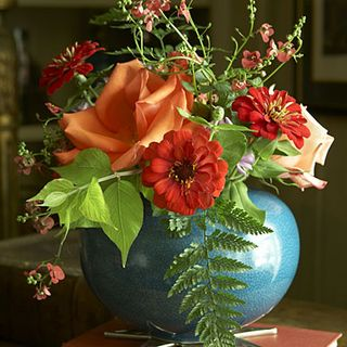Turquoise Vase Orange flowers A