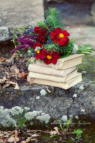 Books and red blooms