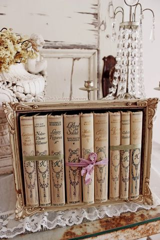 Vintage  books with flowers Z