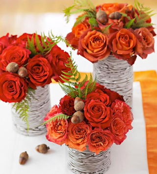 Thanksgiving Mini Center Orange Rose BHG